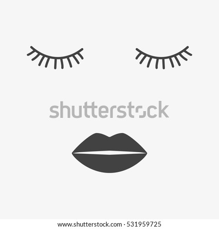 Beauty Face With Closed Eyes Sleeping Icon