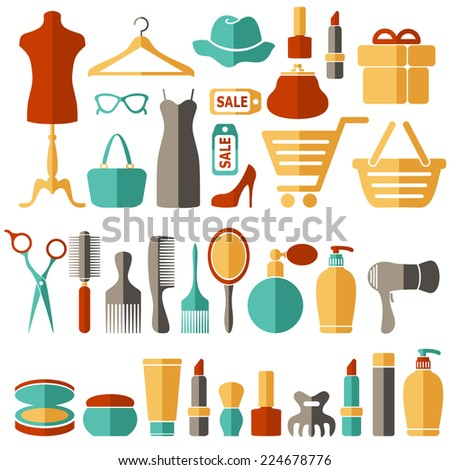 Beauty, fashion, sale, shopping flat vector icons set - stock vector