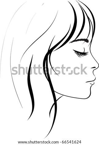 beauty girl face. Art vector work illustration - stock vector