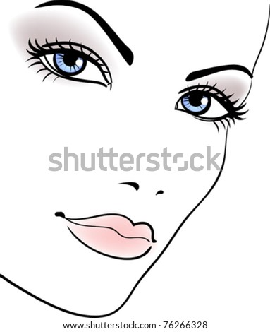beauty girl face, beautiful woman vector portrait - stock vector