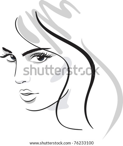 beauty girl face. design elements. Vector Illustration - stock vector