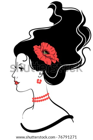 beauty girl face silhouette with red poppy in hairstyle - stock vector