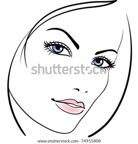 beauty girl face vector icon - stock vector