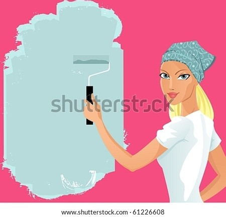 Beauty girl paints with roller. excellent for the layout of text - stock vector
