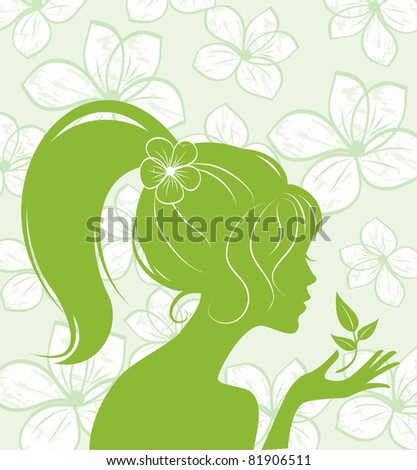 beauty girl silhouette on floral background - stock vector