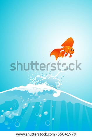 beauty goldfish jump out of water - stock vector