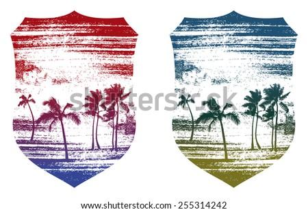 beauty grunge summer shields - stock vector