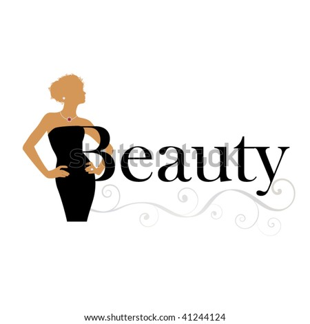 beauty icon - woman with word beauty - stock vector