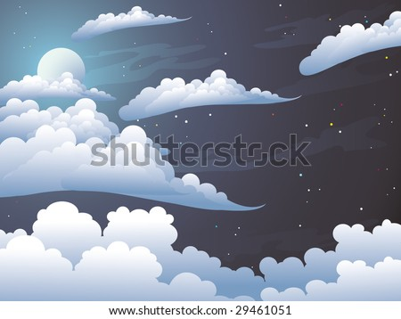 Beauty moonlight night. Silvery clouds in the dark star sky. - stock vector