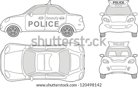 Beauty police car (outlined top, side, back, front view), isolated on white background - stock vector
