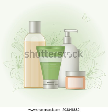 Beauty products set. Vector icon. Objects cosmetics on floral background