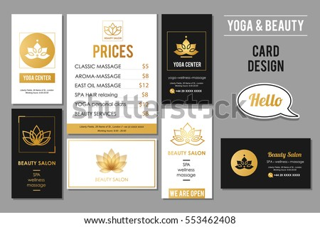 Beauty salon yoga business cards design stock vector 2018 beauty salon and yoga business cards design vector golden card templates for beauty and wellness reheart Gallery