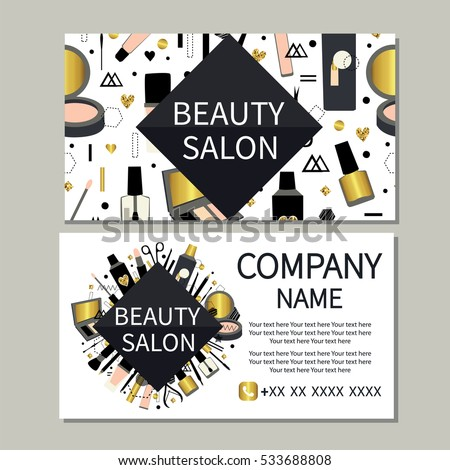 Beauty salon beauty makeup care cute stock vector 2018 533688808 beauty makeup care cute design of business cards for beauty reheart Choice Image