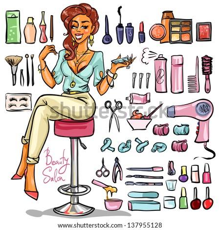 cartoon beauty salon sexy woman vector supplies shutterstock hand drawn