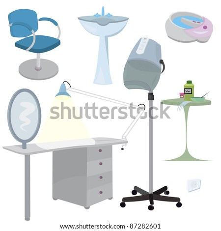 beauty salon furniture icon set