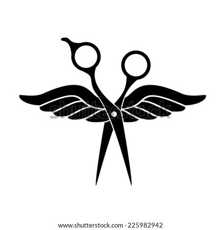 Beauty salon logo with black scissors - stock vector