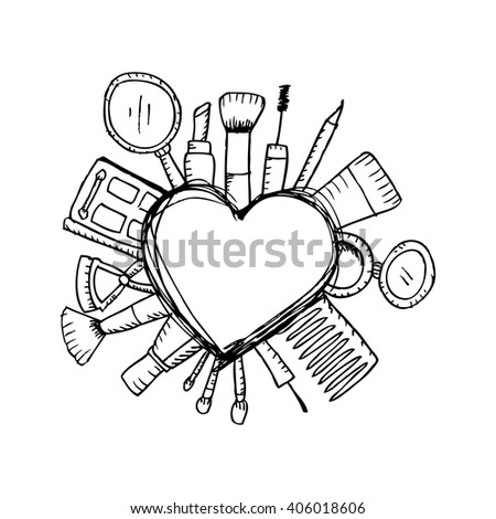 Beauty shop with  type design and cosmetics - stock vector