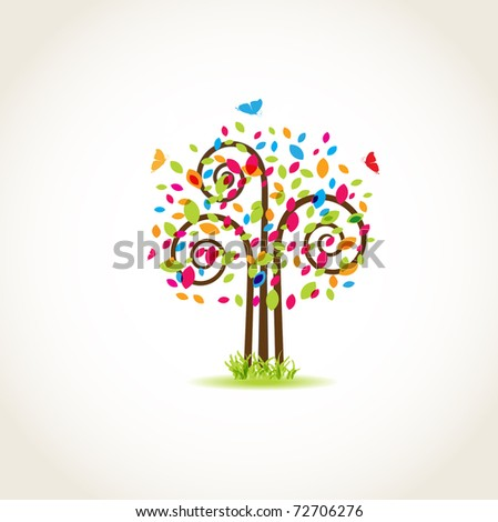 Beauty spring tree with butterflies and multicolored leaves