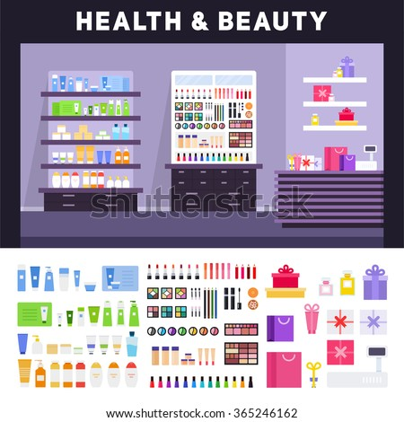 Beauty store vector flat illustrations. Health and beauty store with cosmetics. Make up concept. Different cosmetics, gifts, creams for body isolated on white background - stock vector