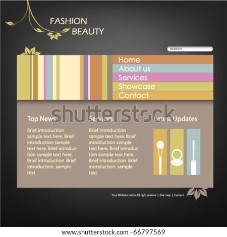 Beauty style website template - vector design - stock vector