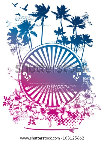 beauty surf shield with gradient - stock vector