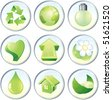 Beauty vector icons, nature green symbols or labels: drop,flower,globe,recycled,heart,arrow,light bulb,home - stock vector
