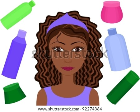 Beauty vector set (girl and cosmetics)