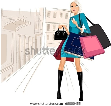 beauty woman on shopping in the city - stock vector