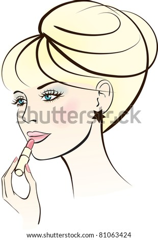 beauty woman with lipstick - stock vector