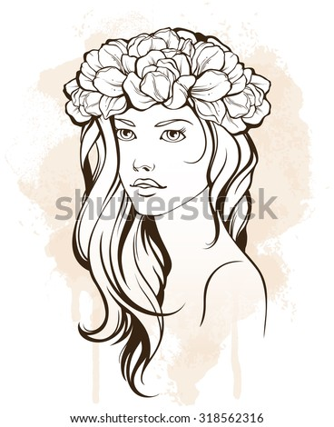 Beauty woman with long hair and floral wreath in vintage style. Vector Illustration. Stylish fashion linear illustration. Beauty Salon design background or banner. Health and spa cosmetics - stock vector