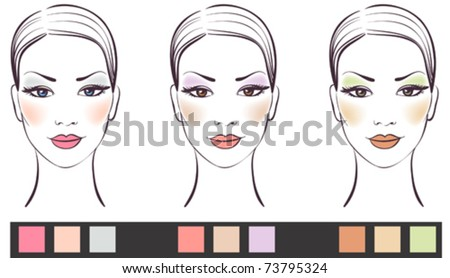 Beauty women face with makeup vector illustration, make-up variants for different types of eyes - stock vector