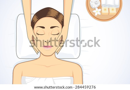 Beauty women facial treatment with massage on bed at spa - stock vector