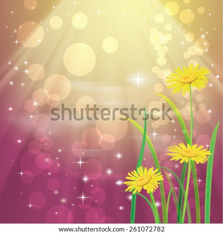 Beautyful camomiles. Vector of spring background - stock vector