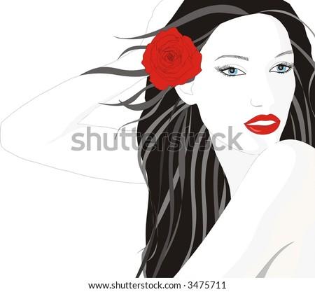 BEAUTYFUL GIRL IN FLOWER HAIR - stock vector