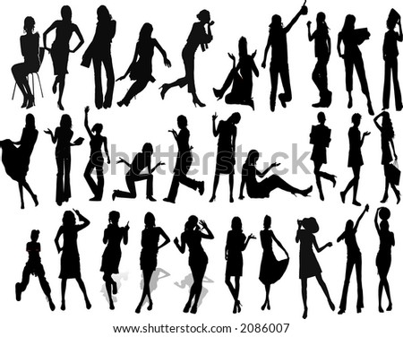 Beautyfull Girls - Silhouette Vector Illustration