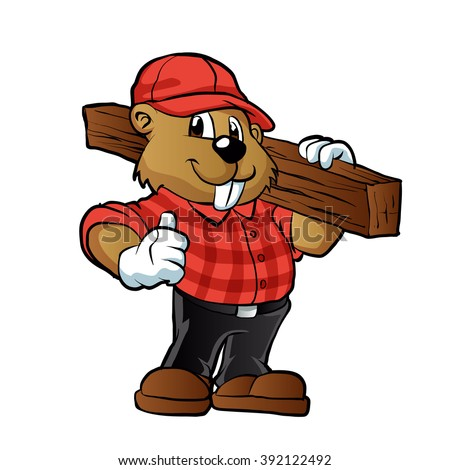 Beaver holding a plank of wood