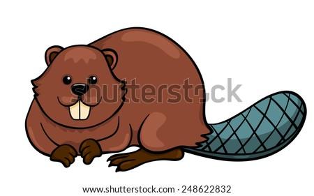 Beaver isolated on white. Cartoon vector illustration. - stock vector