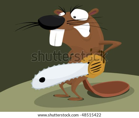 Beaver with a chainsaw. - stock vector