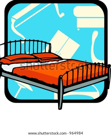Bed.Pantone colors.Vector illustration