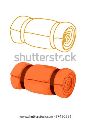 Bed roll isolated - stock vector
