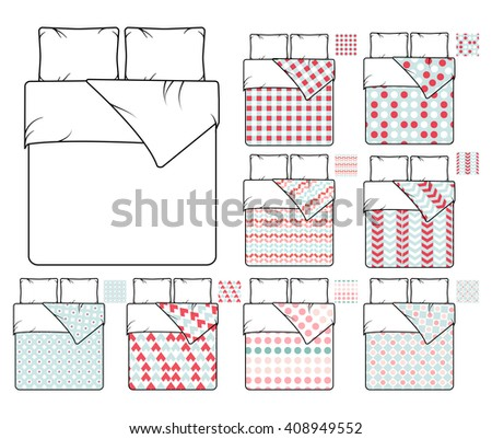 Bedding and linen template and sample patterns set. Decoration, decor seamless fabric, textile bedroom. Vector illustration - stock vector
