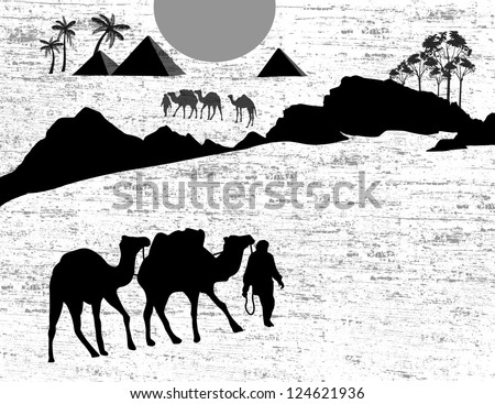 Bedouin camel caravan in wild africa landscape on black and white, vector illustration
