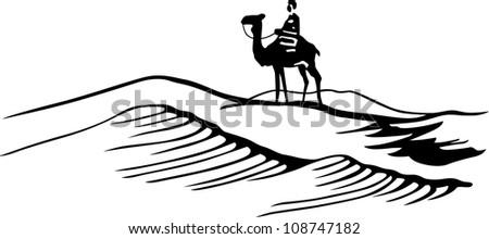 Bedouin in desert - stock vector