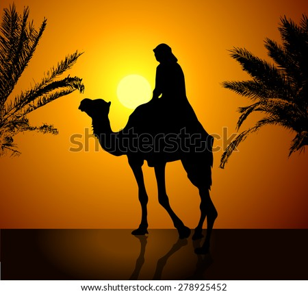 Bedouin with camel at sunset. Vector - stock vector