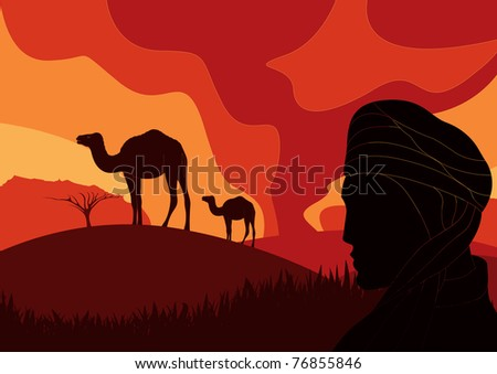 Bedouin with camels in wild africa sand storm foliage