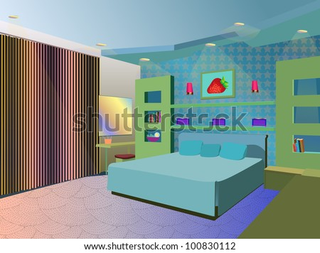 bedroom - stock vector