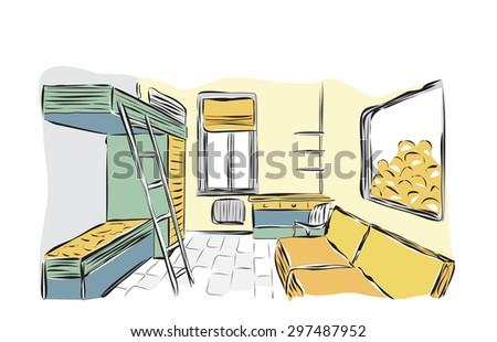Bedroom for children - stock vector