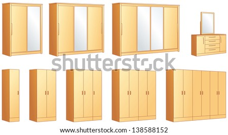 Bedroom furniture - modular wardrobes and dressing commode with mirror. Vector illustration objects - stock vector