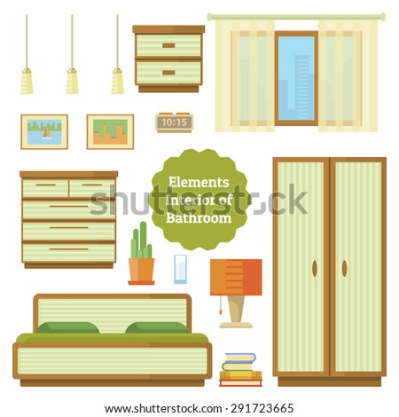 Bedroom Furniture Of House Set Elements In A Flat Style Element The