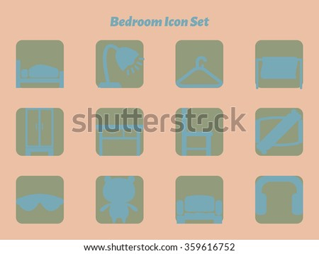 Bedroom icon set with various objects in bedroom
